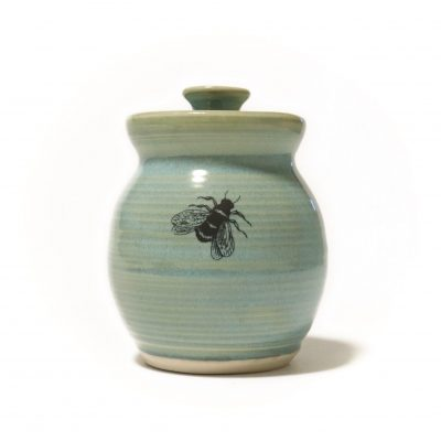 Green Honey Pot With Bee Front View