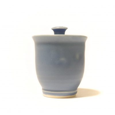 Blue Honey Pot With Bee Front View