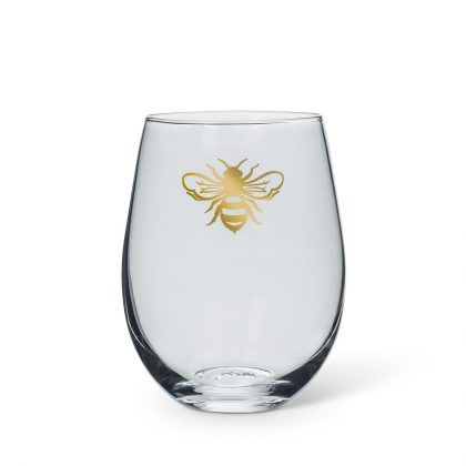 stemless bee wineglass