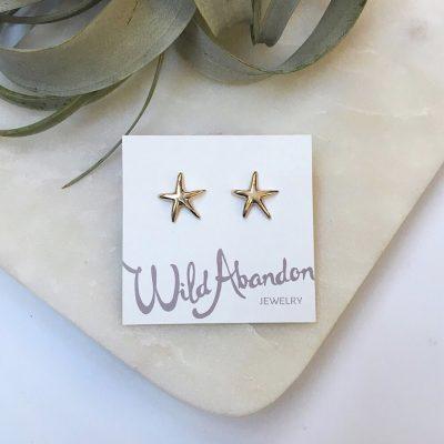 Gold starfish studs